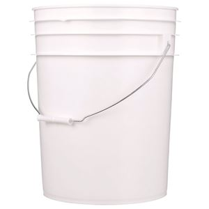 5.3 Gallon White HDPE Plastic Round Pail with Metal Swing Handle - Front View