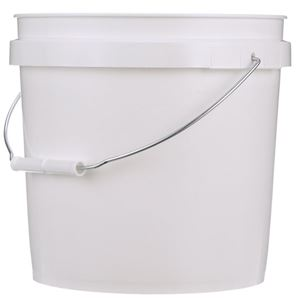 2 Gallon White HDPE Plastic Pail with Metal Handle - Front View