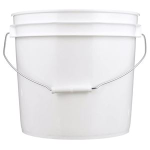 3.2 Gallon White HDPE Plastic Round Pail with Metal Swing Handle - Front View