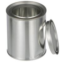 1 Pint (16 oz) Silver Metal Triple Tight Round Unlined Can with Metal Lid - Angled View