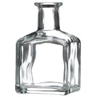 150 ml Clear Glass Cork Top Square Bottle - Cork Neck Finish - Front View