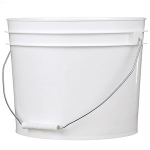2.9 Gallon White HDPE Plastic Round Pail with Metal Swing Handle - Front View