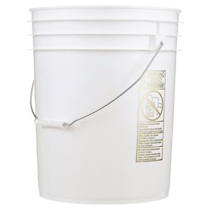 5 Gallon White HDPE Plastic Round Pail with Metal Swing Handle - Front View