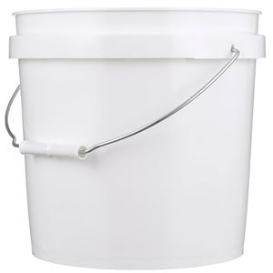 2 Gallon White HDPE Plastic Round Pail with Metal Swing Handle - Front View