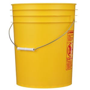 5 Gallon Yellow P/P Plastic Round Pail with Metal Swing Handle - Front View