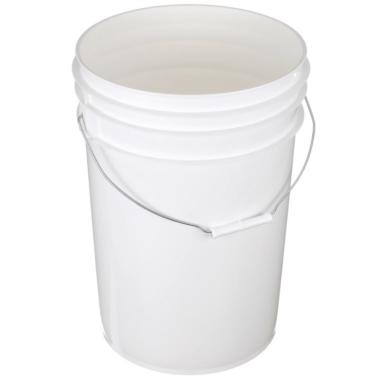 6 Gallon White HDPE Plastic Round Pail with Metal Swing Handle