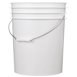5 Gallon White P/P Plastic Round Pail with Metal Swing Handle - Front View