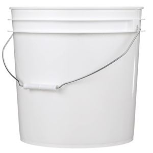 4.25 Gallon White HDPE Plastic Round Pail with Metal Swing Handle - Front View