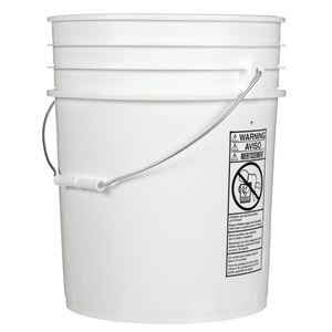 5 Gallon White HDPE Plastic Round UN Rated Pail with Metal Swing Handle - Front View