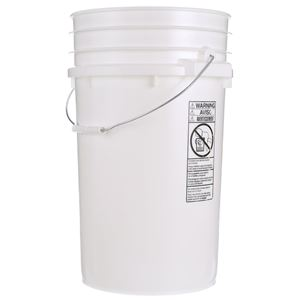 7 Gallon White HDPE Plastic Pail Round with Metal Swing Handle - Front View