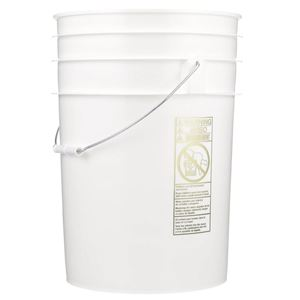 6 Gallon White HDPE Plastic Round Pail with Metal Swing Handle - Front View