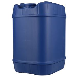 5 Gallon Blue HDPE Plastic Oblong Tight Head Drum Carboy with Plastic Swing Handle - 70 mm Neck Finish - Front View