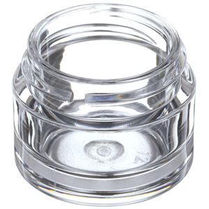 15 ml Clear PETG Plastic Round Thick Wall Jar - 38-400 Neck Finish - Angled View