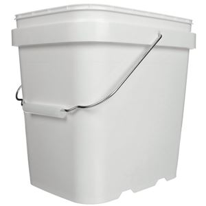 2 Gallon White HDPE Plastic Oblong EZ Stor Pail with Metal Swing Handle - Front View