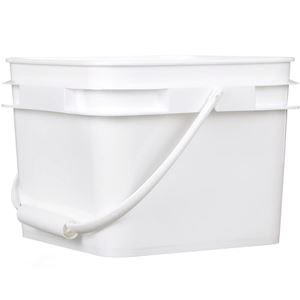 2.1 Gallon White HDPE Plastic Square Pail with Plastic Swing Handle - Front View
