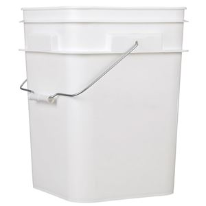 4 Gallon White HDPE Plastic Square Pail with Metal Swing Handle - Front View