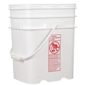 5.3 Gallon White HDPE Plastic Oblong  EZ Stor Pail with Plastic Swing Handle - Front View