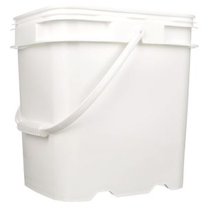 4 Gallon Natural P/P Plastic Oblong Pail with Plastic Swing Handle - Front View