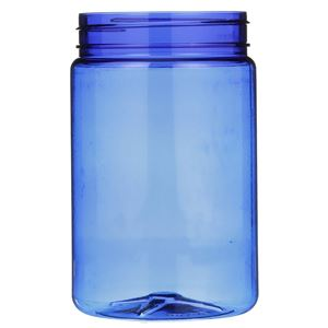 32 oz Cobalt Blue PET Plastic Round Jar - 89-400 Neck Finish - Front View