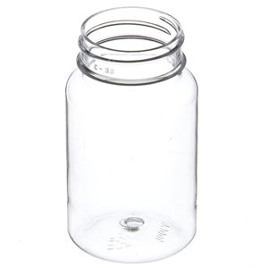 100 cc Clear PET Plastic Round Packer Bottle - 38-400 Neck Finish - Angled View