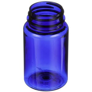 150 cc Cobalt Blue PET Plastic Round Packer Bottle - 38-400 Neck Finish - Angled View
