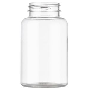 250 cc Clear PET Plastic Round Packer Bottle - 45-400 Neck Finish - Front View