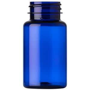 75 cc Cobalt Blue PET Plastic Round Packer Bottle - 33-400 Neck Finish - Front View