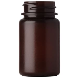 50 cc Amber HDPE Hi-Gloss Plastic Round Packer Bottle - 33-400 Neck Finish - Front View