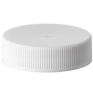 38-400 White P/P Plastic Continuous Thread Closure - Heat Seal Foam Liner - Side View