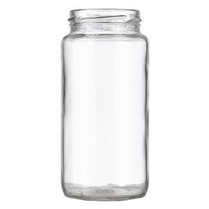 12 oz Clear Glass Round Paragon Jar - 58-2020 Lug Neck Finish - Front View