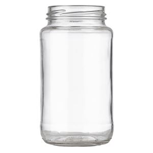 16 oz Clear Glass Round Sauce Jar - 63-2030 Lug Neck Finish - Front View
