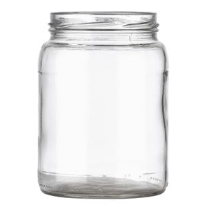 24 oz Clear Glass Round Pickle Jar - 82-2040 Lug Neck Finish - Front View