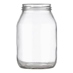 24 oz Clear Glass Round Jar - 70-2030 Lug Neck Finish - Front View
