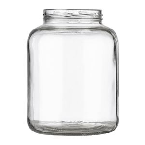 46 oz Clear Glass Round Pickle Jar - 82-2040 Lug Neck Finish - Front View