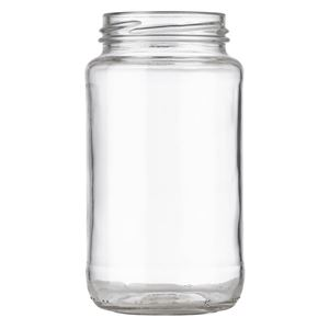 24 oz Clear Glass Round Sauce Jar - 63-2030 Lug Neck Finish - Front View