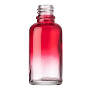 30 ml Red/Clear Ombre Glass Round Euro Dropper Bottle - 18 mm Tamper Evident Neck Finish - Front View