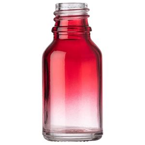 15 ml Red/Clear Ombre Glass Round Euro Dropper Bottle - 18 mm Tamper Evident Neck Finish - Front View