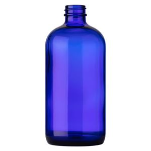 16 oz Cobalt Blue Glass Boston Round Bottle - 28-400 Neck Finish - Front View