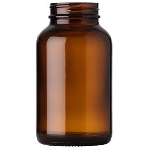 250 cc Amber Glass Round Packer Bottle - 45-400 Neck Finish - Front View