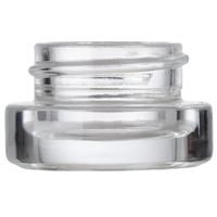 3 ml / 3 Gram Clear Glass Round Heavy Wall Low Profile Jar - 27 mm Neck Finish - Front View