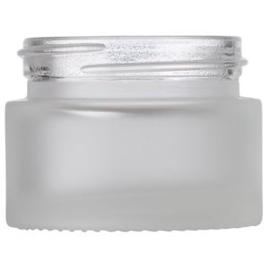 15 ml / 15 Gram / 0.53 oz Frosted Clear Glass Round Heavy Wall Jar - 38.5 mm Neck Finish - Front View