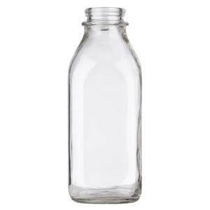 1 Quart (32 oz) Clear Glass Straight Sided Square Milk Bottle - 48 mm Snap On Neck Finish - Front View