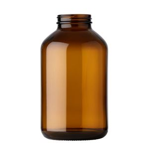 950 cc Amber Glass Round Packer Bottle - 53-400 Neck Finish - Front View