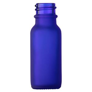 0.5 oz Frosted Cobalt Blue Glass Boston Round Bottle - 18-400 Neck Finish - Front View