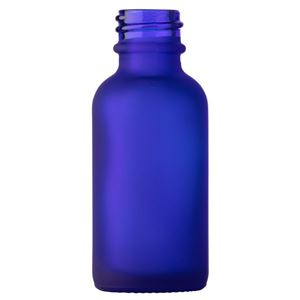 1 oz Frosted Cobalt Blue Glass Boston Round Bottle - 20-400 Neck Finish - Front View