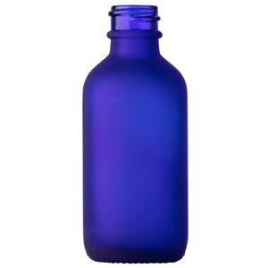 2 oz Frosted Cobalt Blue Glass Boston Round Bottle - 20-400 Neck Finish - Front View
