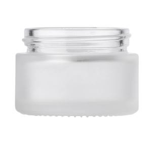 1 oz Frosted Clear Glass Round Jar - 48-400 Neck Finish - Front View