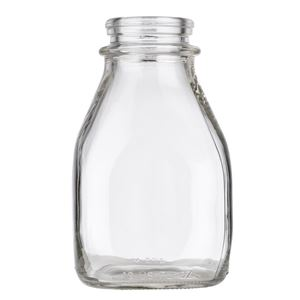 1 Pint (16 oz) Clear Glass Straight Sided Squat Square Milk Bottle - 48 mm Snap On Neck Finish - Front View