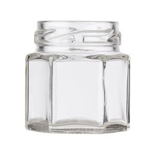 1.5 oz Clear Glass Hexagon Sample Jar - 43-2010 Lug Neck Finish - Front View