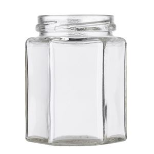 9 oz Clear Glass Hexagon Jar - 63-2030 Lug Neck Finish - Front View